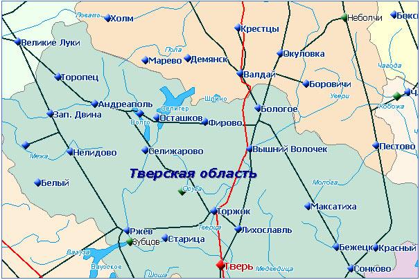 Схема расположения города Осташков (Осташков на карте) .