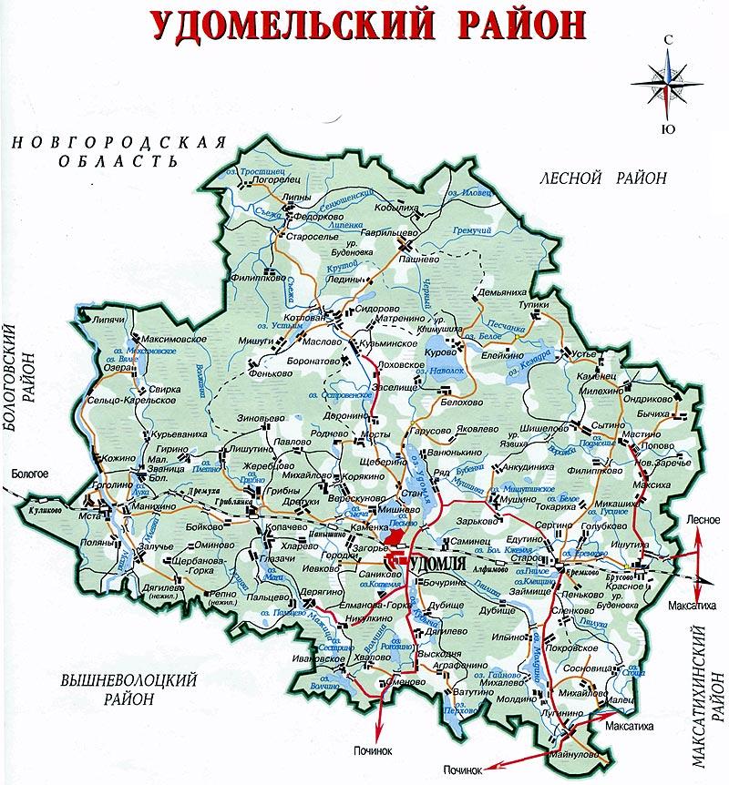 Карта-схема, Удомельский район