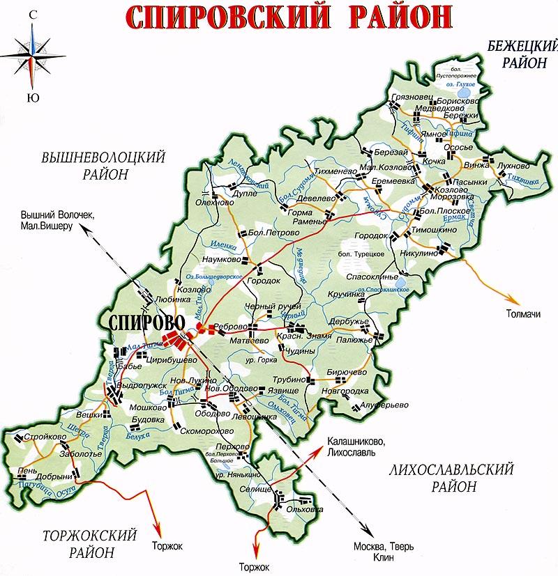 Карта Спировского района